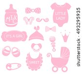 cute baby girl icons like nappy ... | Shutterstock .eps vector #493295935