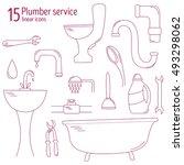 plumbing icons vector set. set... | Shutterstock .eps vector #493298062