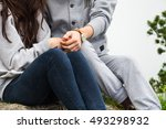 close up  young couple  in love ... | Shutterstock . vector #493298932