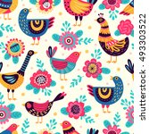 seamless pattern with birds and ... | Shutterstock .eps vector #493303522