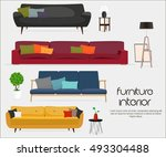 interior. sofa sets and home... | Shutterstock .eps vector #493304488