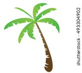 funny vector palm tree isolated ... | Shutterstock .eps vector #493304902