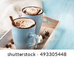 Blue Cup Of Hot Chocolate Drink ...