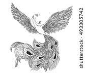 magic bird. illustration for a... | Shutterstock .eps vector #493305742