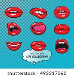 vector female lips set. fashion ... | Shutterstock .eps vector #493317262