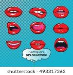 vector female lips set. fashion ... | Shutterstock .eps vector #493317262