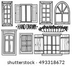 vintage window drawing. window. a set of drawings by hand. shuttered windows, open modern vintage window drawing t