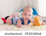 smiling young baby boy with big ...   Shutterstock . vector #493318966
