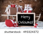 sleigh with gifts  snow ... | Shutterstock . vector #493324372