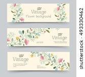retro flower banners concept.... | Shutterstock .eps vector #493330462