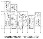 standard office furniture... | Shutterstock .eps vector #493333312