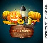 traditional halloween... | Shutterstock .eps vector #493336186