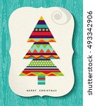 colorful merry christmas... | Shutterstock .eps vector #493342906