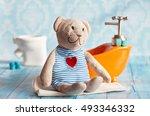 children's soft toy teddy bear... | Shutterstock . vector #493346332