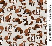 Cute Red Panda On Brown...