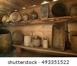handmade old dishes on the... | Shutterstock . vector #493351522