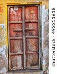 ancient red wooden door with... | Shutterstock . vector #493351618