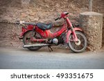 old red motorcycle on the... | Shutterstock . vector #493351675