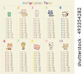 multiplication table with cute... | Shutterstock .eps vector #493354282