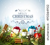 christmas greeting card with... | Shutterstock .eps vector #493364932