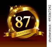 87th golden anniversary logo ... | Shutterstock .eps vector #493367242