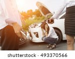 asia women stressed and driver... | Shutterstock . vector #493370566