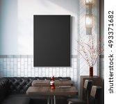 restaurant interior with black... | Shutterstock . vector #493371682