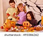 children on halloween party... | Shutterstock . vector #493386262