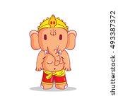 illustration of little cartoon... | Shutterstock .eps vector #493387372