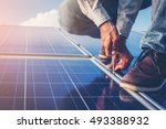 one electrician working on... | Shutterstock . vector #493388932