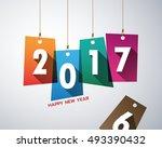happy new year 2017 vector...   Shutterstock .eps vector #493390432