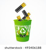 recycling battery concept.... | Shutterstock .eps vector #493406188