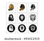 lion head silhouette image... | Shutterstock .eps vector #493411915