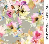 seamless pattern with flowers... | Shutterstock . vector #493416238