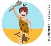 ancient man pursues prey | Shutterstock .eps vector #493417732