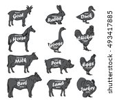 farm animals collection.... | Shutterstock . vector #493417885