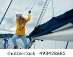 young strong woman sailing the... | Shutterstock . vector #493428682