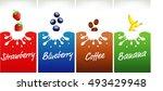 milk splash with strawberry ... | Shutterstock .eps vector #493429948