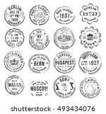 set with 16 round isolated... | Shutterstock .eps vector #493434076