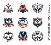 flat isolated emblems set for... | Shutterstock .eps vector #493434172
