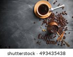 coffee composition with cup and ...   Shutterstock . vector #493435438