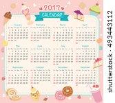 twelve month of 2017 calendar... | Shutterstock .eps vector #493443112