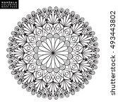 flower mandala. vintage... | Shutterstock .eps vector #493443802