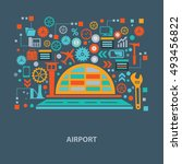 airport concept design on... | Shutterstock .eps vector #493456822