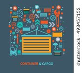 container and cargo concept... | Shutterstock .eps vector #493457152