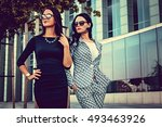 two fashionable women in... | Shutterstock . vector #493463926
