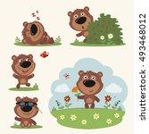 vector set funny teddy bear.... | Shutterstock .eps vector #493468012