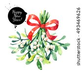 watercolor green mistletoe... | Shutterstock . vector #493469626