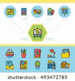 icon set office vector | Shutterstock .eps vector #493472785