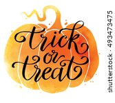 trick or treat  hand drawn... | Shutterstock .eps vector #493473475